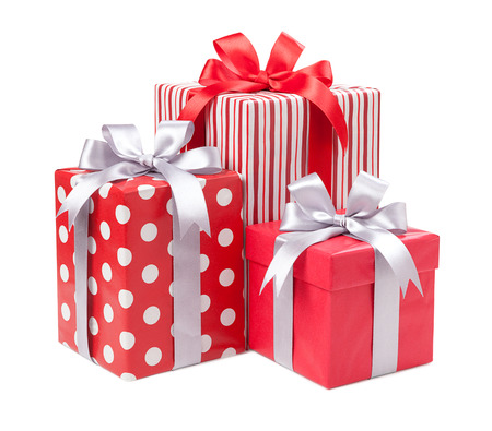 36999405 - red boxes with gifts tied with gray bows isolated on white background