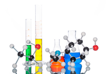 58763398 - molecular structure and colorful liquid on white background